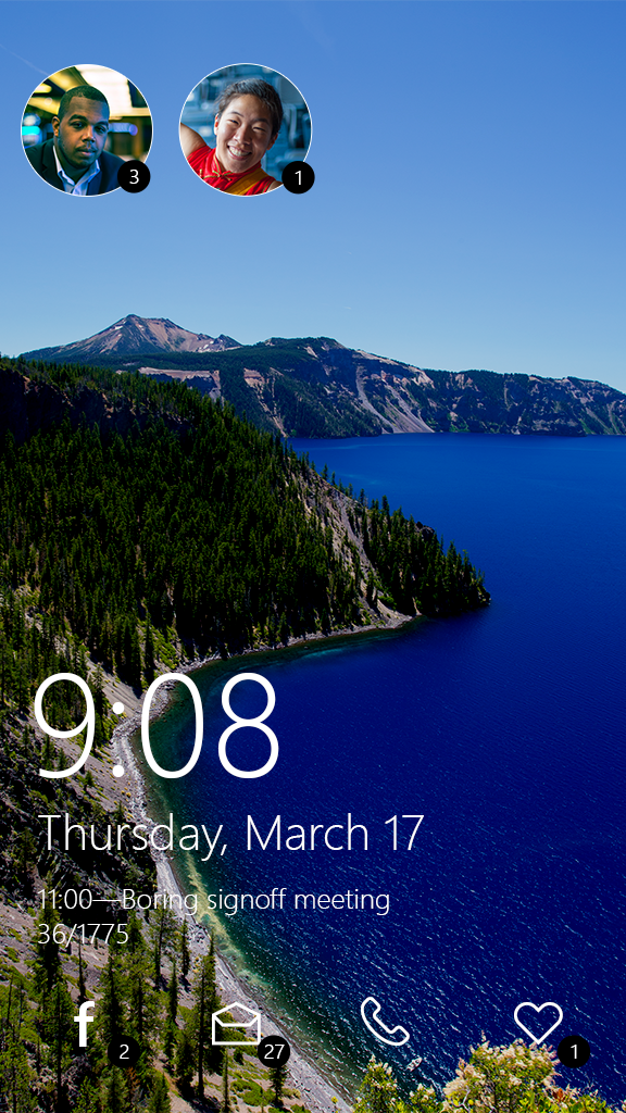 Design for the Windows phone lock screen