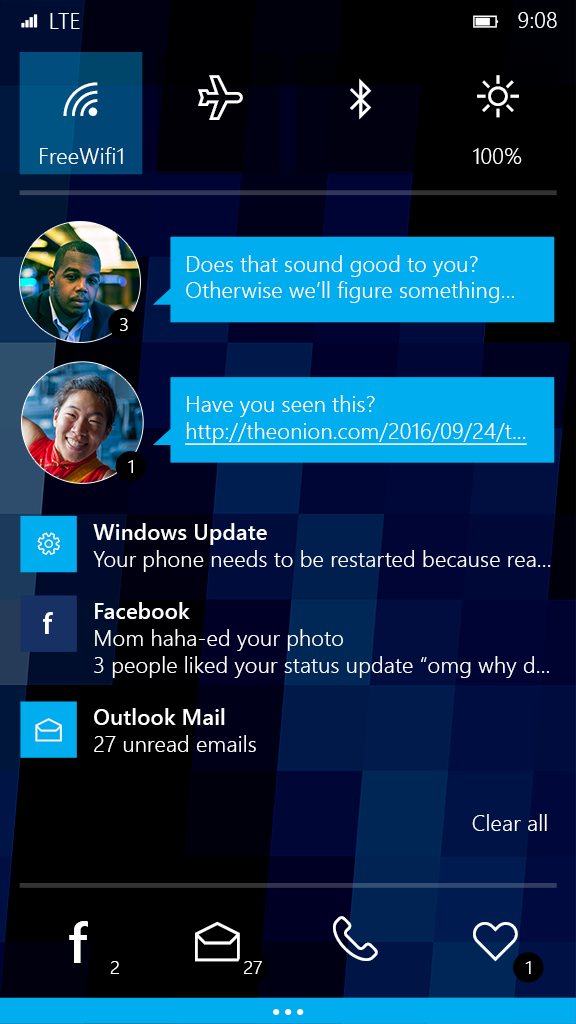 Design for the Windows phone notification shade with wallpaper