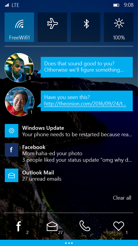 Design for the Windows phone notification shade
